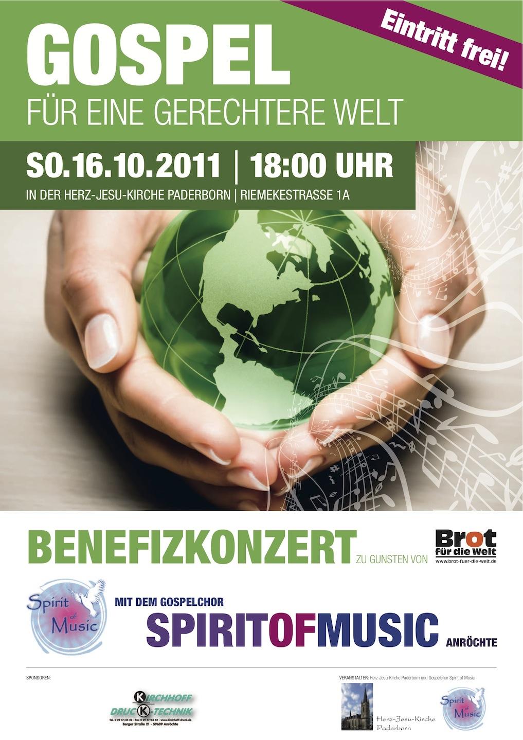 """Plakat Benefizkonzert """"Gospel für eine gerechtere Welt"""" Paderborn"""
